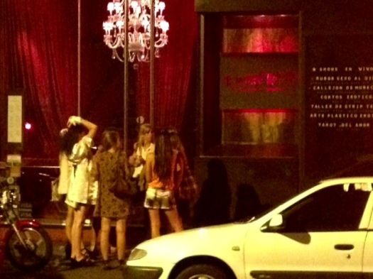 """Some chicas all dolled up about to go into an """"aphrodisiac restaurant.""""  Cheezee"""